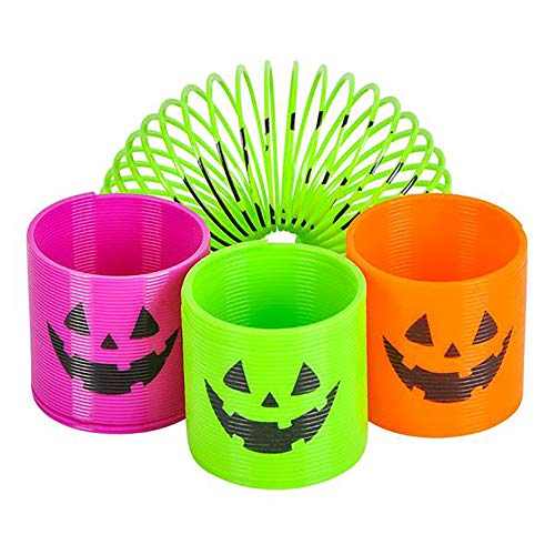 - Jack-o-lantern Slinky Coils - Pack of 48 Halloween Neon Coil Springs for Kids - Perfect for Trick-or-Treats, Creepy Party Favors, Candybag Giveaways, Pumpkin Basket Fillers