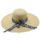 WUAI Womens Wide Brim Straw Hats Leopard Print Sun hat Folding Travel Beach Cap(Beige,Free size)