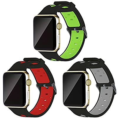 Oitom 42mm Soft Breathable Silicone Replacement Wristband Straps with Plated TPU Protective Case for Apple Watch Nike+,Series 1,Series 2,Sport,Apple Watch Edition M/L Size (Black 3 42mm)
