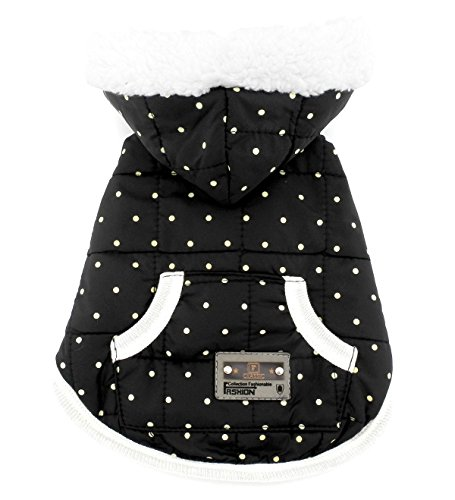 SMALLLEE_Lucky_Store Pet Clothes for Small Dog Cat Fleece Lined Winter Vest Coat Jacket Hooded Costume Clothing Black Dots M