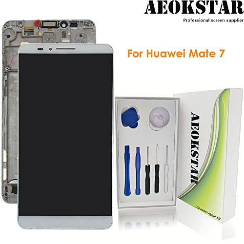 Aeokstar For Huawei Mate 7 LCD Touch Screen Digitizer Glass Assembly Replacement & Full Repair Tools Kit (WHITE+FRAME) from AEOKSTAR