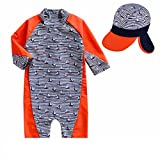 Baby Little Boys Swimsuit Rashguard Bathing Suit One Piece Zipper Swimwear Surfing Suit with Hat UPF 50+ Orange L