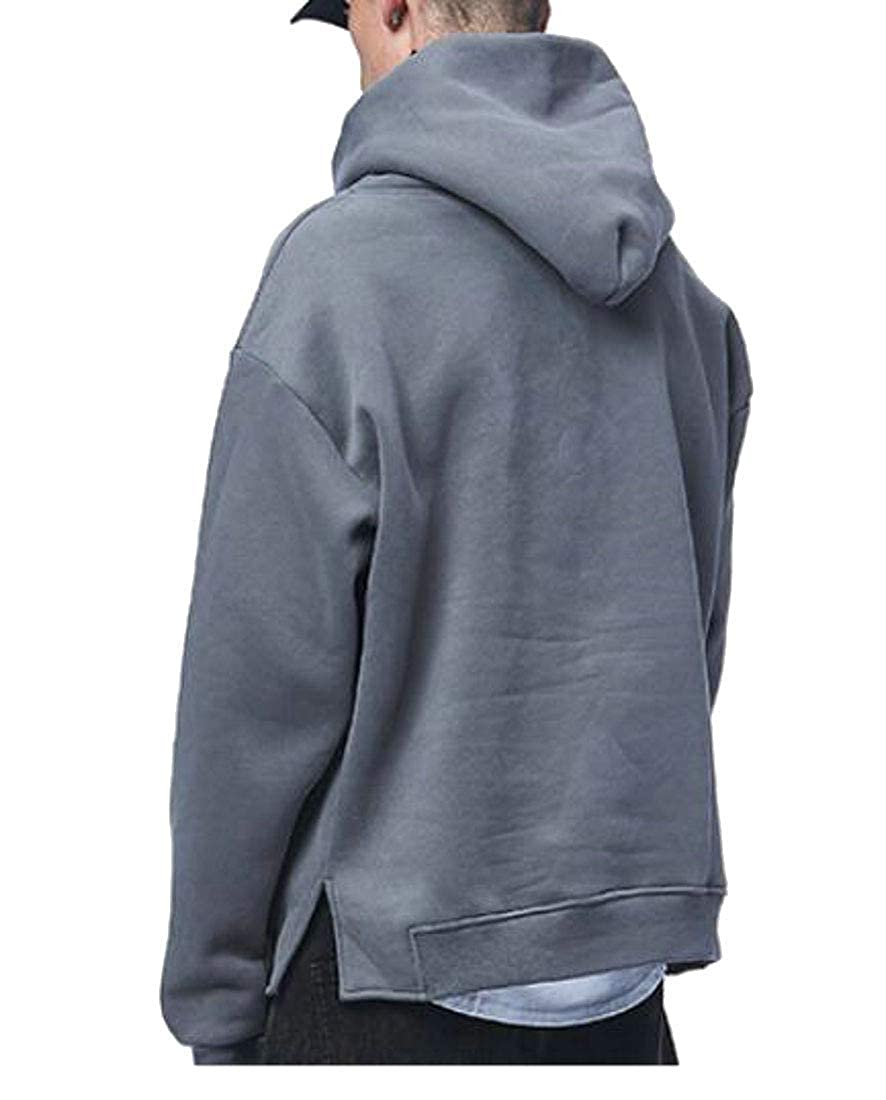 Joe Wenko Mens Hoodie Classic-fit Pullover Pure Color Loose Fleece Sweatshirts