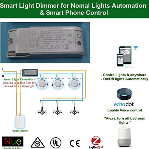 110-240V Smart ZigBee Light Dimmer Switch Compatible with Echo Plus and Other Compatible ZigBee Hub or Bridge to Control Normal Lights, Home Automation and Voice Control … 51Q 2BrwdRjPL
