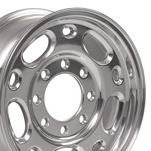 OE Wheels 16 Inch Fit GMC Chevy 2500 3500 8Lug CV82 Polished 16x6.5 Rims Hollander 5079 Cap NOT Included SET (Express Wheels)