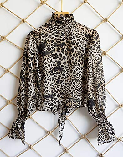 Bandage Printemps Femmes Casual Chemisiers Tops Court Sleeve Shirts Automne Lopard Flare Imprime Blouse Hauts New Tee BwRgqwYSf