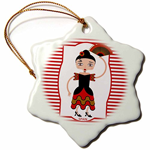 3dRose LLC orn_160621_1 Porcelain Snowflake Ornament, 3-Inch, Spain is Represented by a Flamenco Dancer, Flamenco is Spanish Popular Folk Music by 3dRose