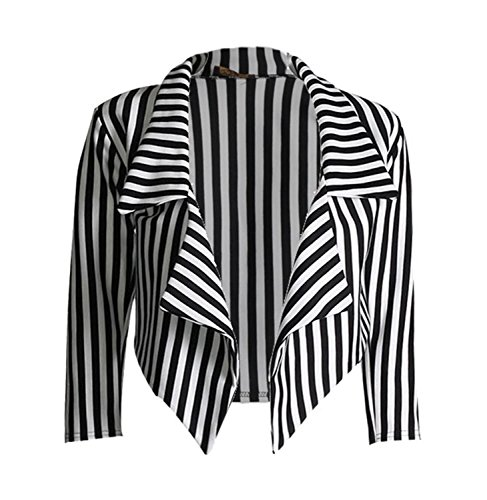 Black And White Striped Jacket - 1