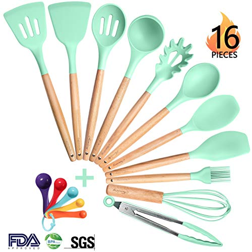 Mirviory Silicone Kitchen Utensil Set, 16pcs Cooking Utensils with Natural Wooden Handles, Heat-resistant Non-toxic Nonstick Kitchen Tools, Mother's Day Gift (BPA Free, Mint Green)
