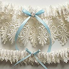 Lace Garter Wedding Set With Blue Satin Ribbon Bow And Swarovski Crystal