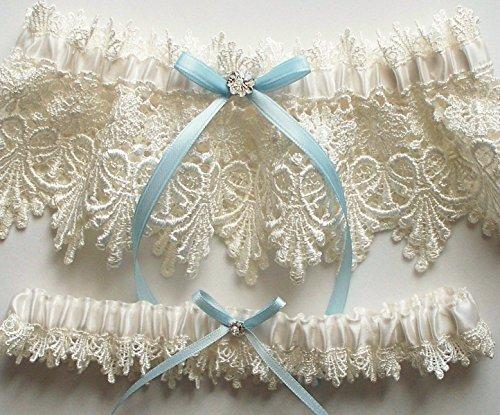Lace Garter, Wedding Garter Set with Blue Satin Ribbon Bow and Swarovski Crystal Centering - The ALICIA Garter Set