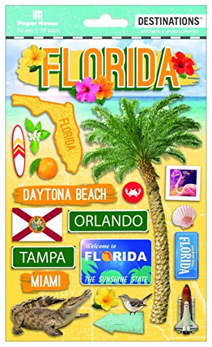 Paper House Productions Travel Florida 2D Stickers, 3-Pack