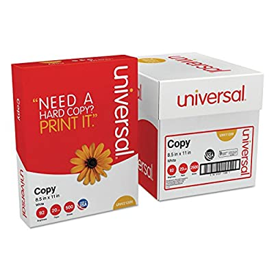 Universal 11289 Copy Paper Convenience Carton, 92 Brightness, 20lb, 8 1/2 x11, White, 5 Reams/CT