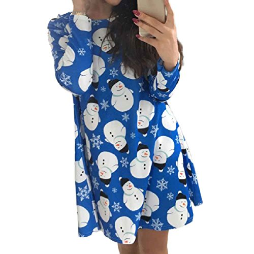 Snowman DKmagic Swing Christmas Womens Blue Dress Long Party Printing Sleeve Fashion wUqXUxfrZ