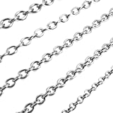 INBLUE Men's 3mm Wide Stainless Steel Necklace Cable O Chain Link Silver Tone 14~40 Inch