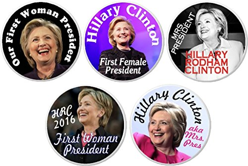 """Set 5 President Hillary Clinton Commemorative 1.25"""" Buttons Pins First Female"""