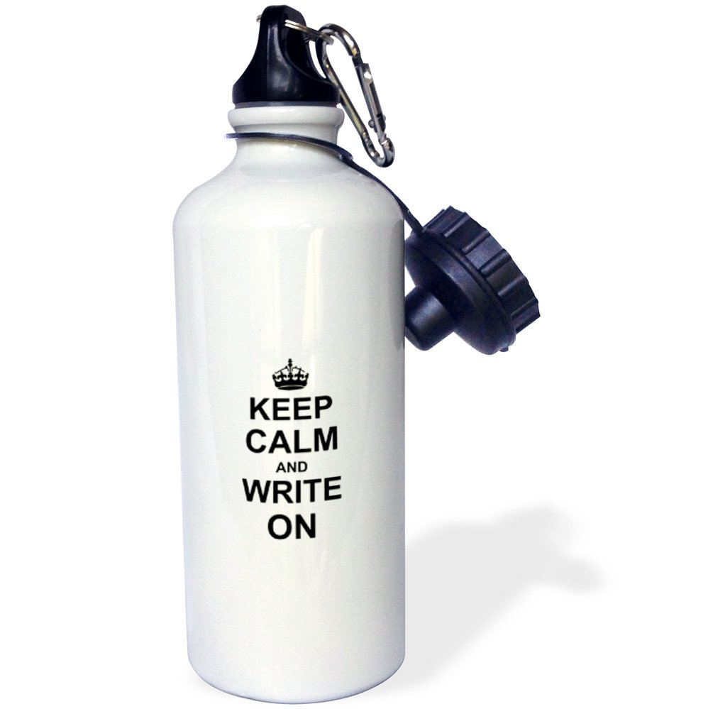 3dRose wb_157787_1 Keep Calm and Write on-Carry on Writing-Author Phd Thesis Writer Gifts Fun Funny Humor Humorous Sports Water Bottle, 21 oz, White
