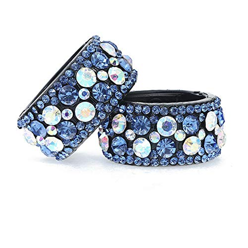 Ladies Plastic Crystal Rhinestone Hair Ponytail Hair Ring Buckle Holder Hairpin (Colors - blue)