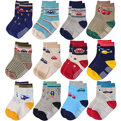 Flanhiri Baby Boys Toddler Non Skid Cotton Socks with Grip (3-5 Years, 12 Pairs - Set 3/711712)