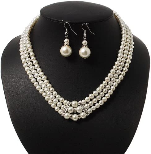 45cm L Avalaya 3-Strand Simulated Glass Pearl Necklace /& Drop Earrings Set in Silver Plated Metal