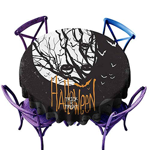 AndyTours Round Tablecloth,Vintage Halloween,Halloween Themed Image with Full Moon and Jack o Lanterns on a Tree,for Events Party Restaurant Dining Table Cover, Black -