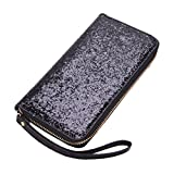 Yosohbag Women PU Leather Wallet Women Long Glitter Sequin Money Purse Credit Card Bags C Black
