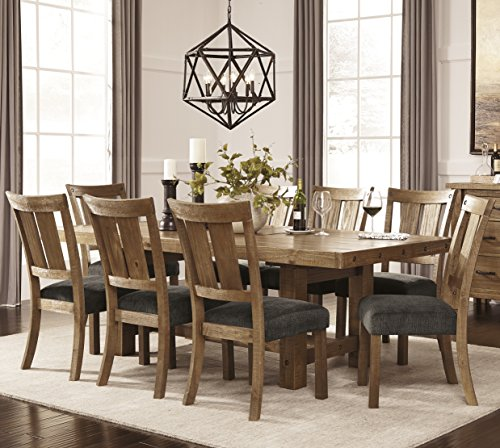 Rectangular Trestle Dining Table (Tarmilr Casual Brown Color Rectangular Dining Room Set, Table, 8 Chairs)