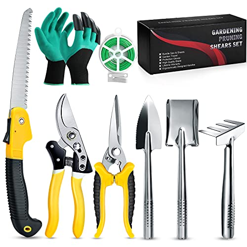 Garden Pruning Shears, Gardening Tools Set Heavy Duty - Professional Hand Pruner Cutter Clippers,Gardening Gifts for…