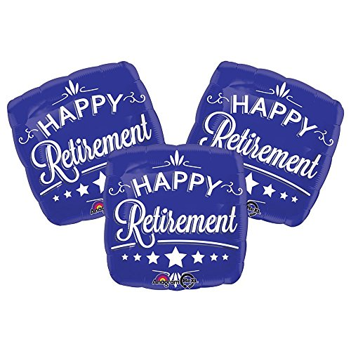 Set of 3 Happy Retirement Blue 18