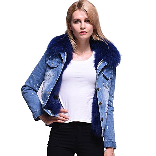 Winter Jacket Women 2017 Ladies Real Fox fur Lined Denim Jeans Womens Jackets (M) by HSPL