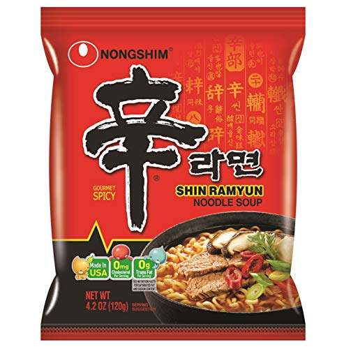 Korean Noodle Soup - NongShim Shin Ramyun Noodle Soup, Gourmet Spicy, 4.2 Ounce (Pack of 20)
