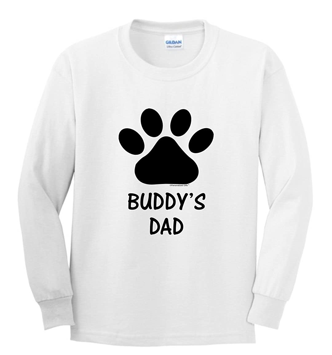 ce5fdf40 Amazon.com: Personalized Dog or Cat Paw with Your Custom Text Youth Long  Sleeve T-Shirt: Clothing