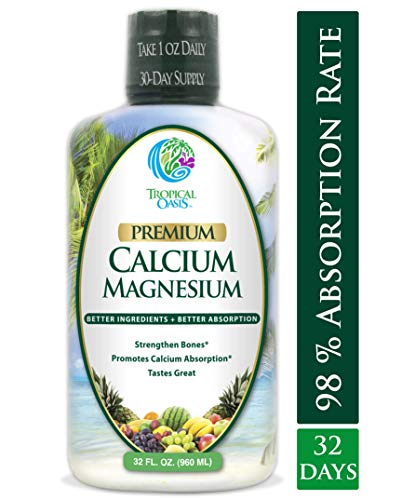 Tropical Oasis Liquid Calcium & Magnesium - Natural formula w/ support for strong bones - Liquid vitamins w/ calcium, magnesium & vitamin D - Up to 96% absorption by the body. - 32oz, 64 Serv.