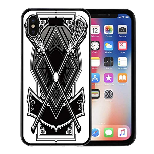 Semtomn Phone Case for Apple iPhone Xs case,Base Lacrosse Sticks Equipment and Ball on Ornate Graphic Bat Clipart for iPhone X Case,Rubber Border Protective Case,Black
