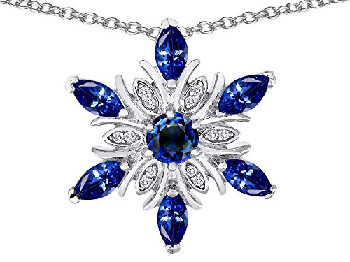 Star K Created Sapphire Snowflakes Pendant in Sterling Silver