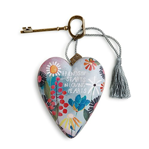 DEMDACO Friendship Loving Summer Floral 4 Inch Heart Shaped Resin Keepsake -