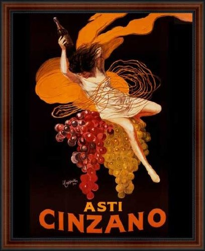 Cinzano Framed - Asti Cinzano 1920 by Leonetto Cappiello Vintage Advertising Poster Reproduction Framed Custom Made Real Wood Dark Walnut with Black Trim Frame (18 1/4 x 22 1/4)