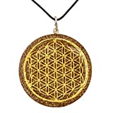 RALIEVA Flower of Life Orgone Pendant, Powerful Cleansing Amethyst, Generator Energy Accumulator, 2 inch in Diameter, Black Cord Included, EMF Protection, Reiki Energized