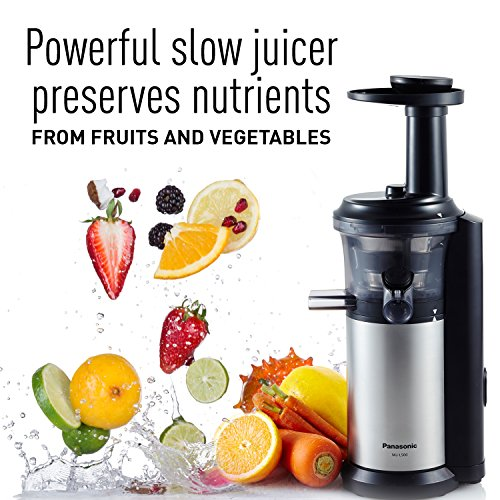 Panasonic MJ-L500 Slow Juicer with Frozen Treat Attachment, Black/Silver, Desertcart