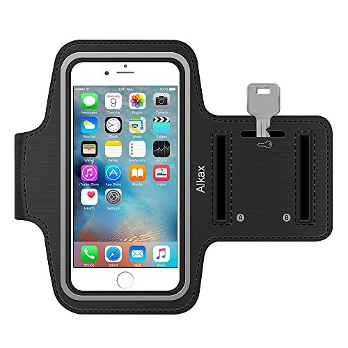 Gold Finished Holder Pen (iPhone 6S Plus Armband,iPhone 6 Plus(5.5 Inch)Armband,Alkax Sports Exercise Water Resistant Series Hyrid Armband Running Pouch Clear Touch With Key Holder For hiking,Walking+One Free Stylus Pen(Black))