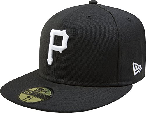 MLB Pittsburgh Pirates Black with White 59FIFTY Fitted Cap, 8