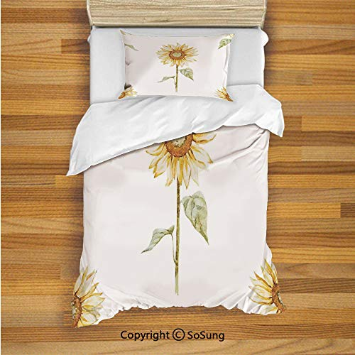 SoSung Sunflower Decor Kids Duvet Cover Set Twin Size, Sunflowers in Watercolor Painting Effect Minimalistic Design Decorative Artwork 2 Piece Bedding Set with 1 Pillow Sham,Yellow Green (Easy Face Painting Designs For Kids Printable)