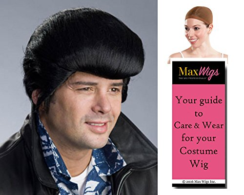 Hawaii Elvis Presley Color Black - Enigma Wigs Men's Economy Quality King 70s Viva Blue Hawaii Bundle with Wig Cap, MaxWigs Costume Wig Care (70s Vegas Costumes)