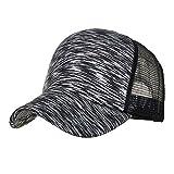 Sunyastor Summer Cap Camouflage Mesh Hats for Men Women Casual Hats Hip Hop High Bun Ponytail Adjustable Baseball Caps (A Black, One Size)