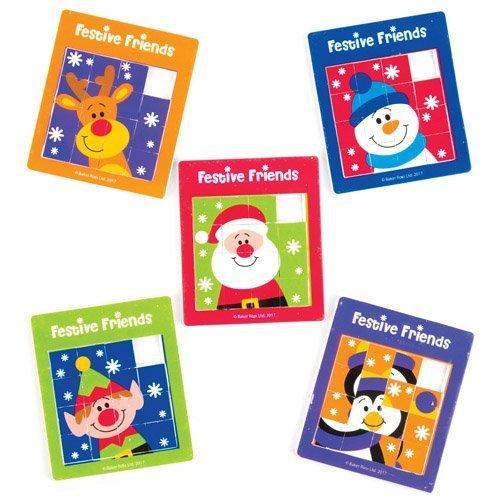 Puzzles à Faire Glisser Amis festifs pour Enfant, Jouets et Jeux destinés aux Jeunes Enfants pour s'amuser Pendant la période de Noël (Lot de 5) Baker Ross 12236