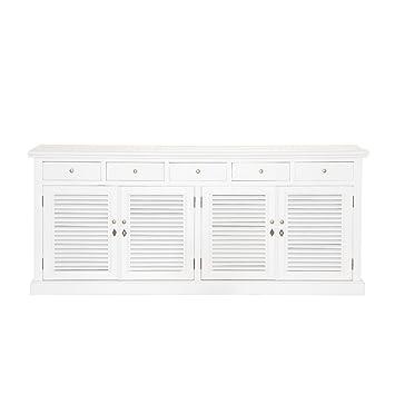 Sideboard Erle massiv weiß lackiert 4 Lamellentüren 200x85x45cm ...