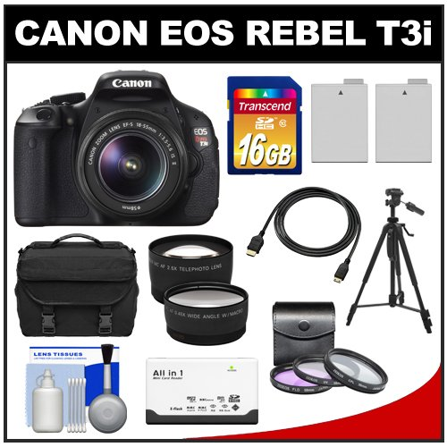 Canon EOS Rebel T3i Digital SLR Camera Body and EF-S 18-55mm IS II Lens + 16GB SDHC Card + Case + Tripod + 2 Batteries + Filters + HDMI Cable + Tele/Wide Lens Kit, Best Gadgets