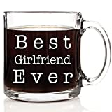 Best Girlfriend Ever Coffee Mug 13 oz Glass Perfect Gift for Christmas, Valentines Day or Birthdays