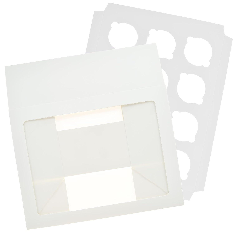 Caja de exposición para 12 cupcakes, embalaje caja acetato, ventana extraíble para tartas, soporte paquete plano, Blanco, 2 unidades: Amazon.es: Hogar