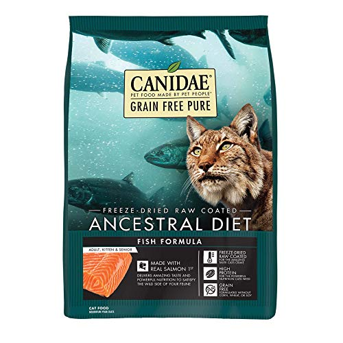 CANIDAE Grain Free Pure Ancestral Diet Cat Food Dry Raw Coated Fish Formula with Salmon 5lbs ()